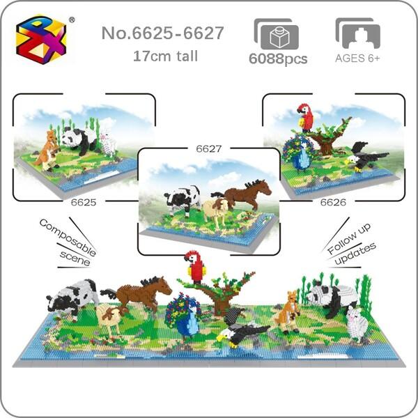 PZX 6625-6627 Panda Beer Kangaroo Alpaca Parrot Weagle Peacock Bird Cow Horse Sheep