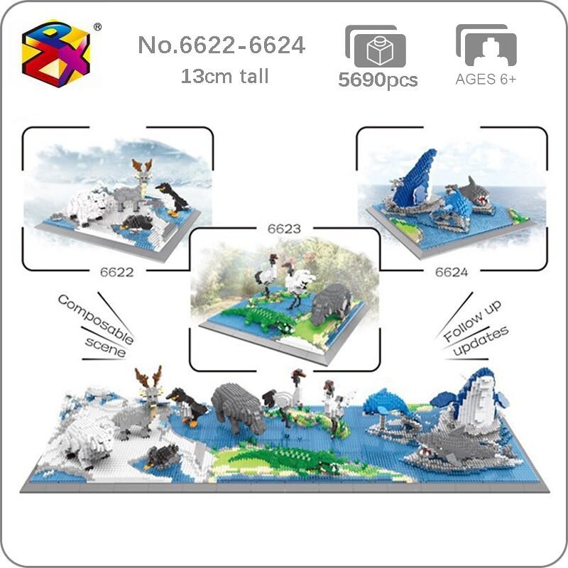 PZX 6622-6624 Animal World Penguin Bird Polar Bear Deer Hippo Alligator And More