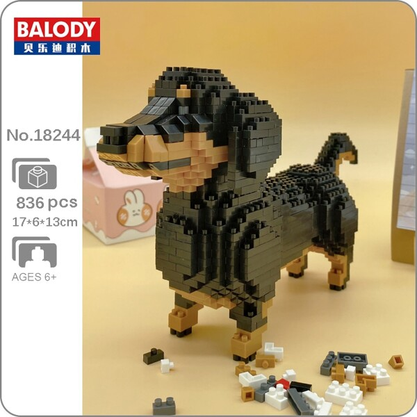 BALODY 18244 Cartoon Black Dachshund Dog