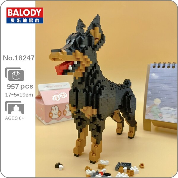 BALODY 18247 Cartoon Black Dobermann Dog