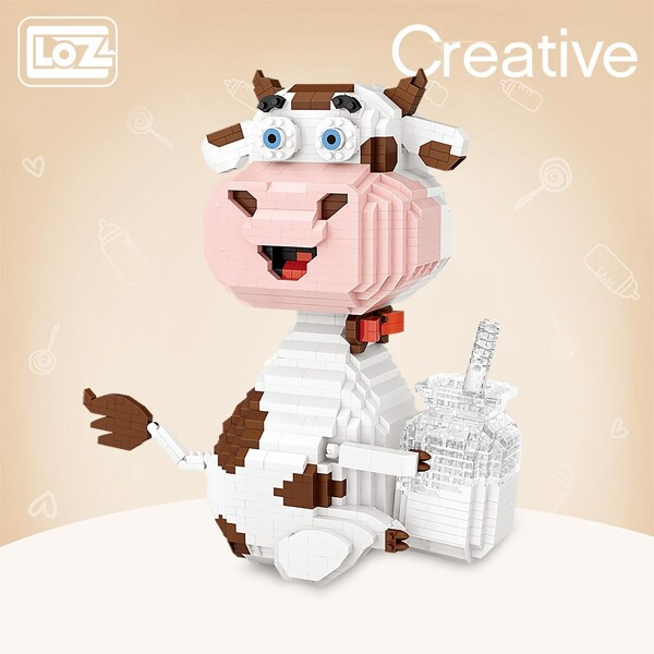 LOZ Diamond Blocks Dairy Cow Milk Micro-Diamond Particle Building Block Toy Puzzle Adult Highly Difficult Animal Assembly Model