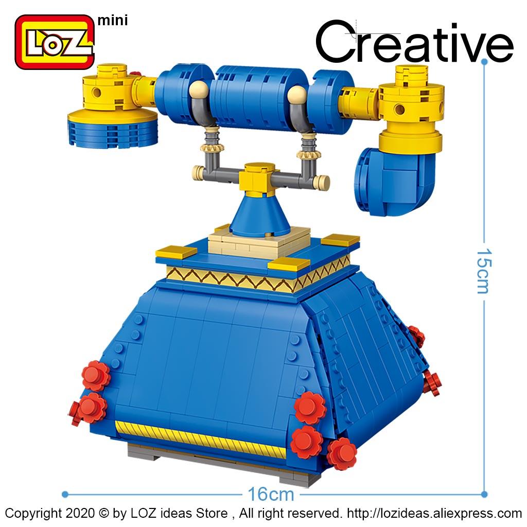 LOZ/Li Zhi blue telephone turntable landline assembling small particles puzzle building blocks toy model decoration adult