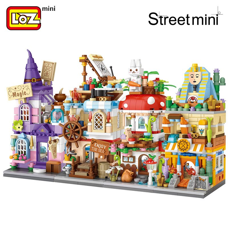 LOZ Mini Block Commercial Street Magic Street View Magic House Nautical Mushroom House Archaeological House Assembly Building
