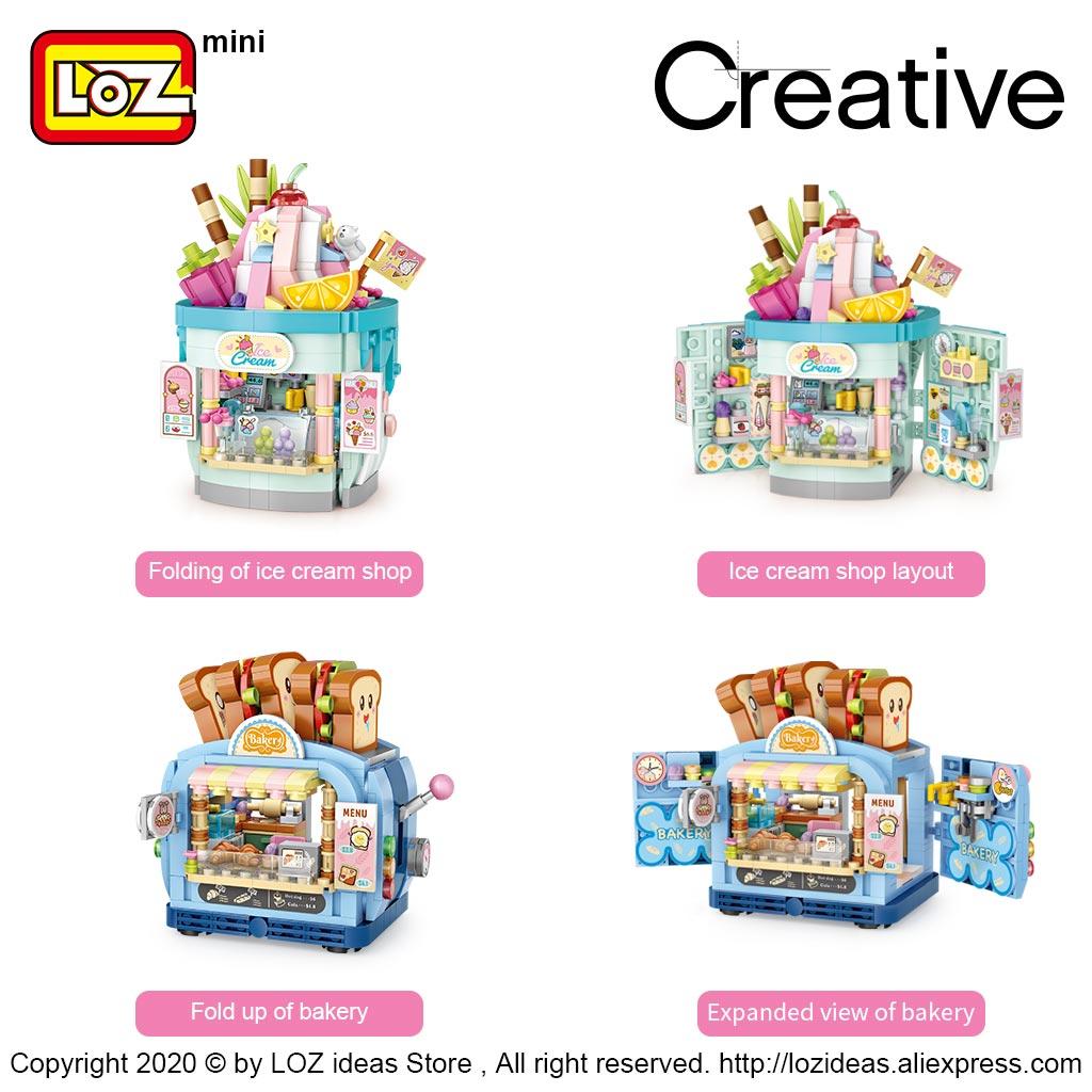LOZ Mini Block Ice Cream Shop Amusement Park Series Toast Shop Street View Store Model Small Particle Building Blocks