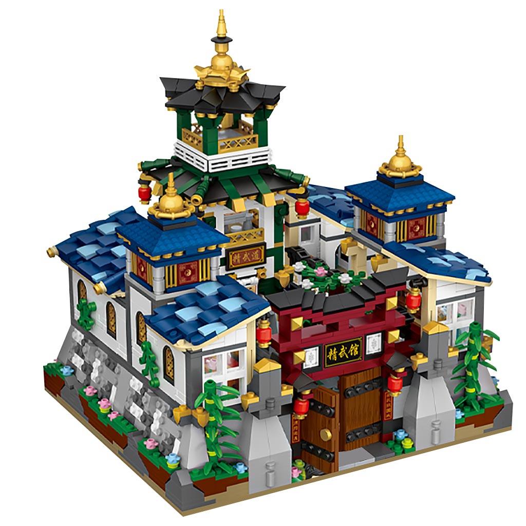 LOZ Mini Block Mini belt box house with folding Jingwu Kung Fu Jingwu Museum Chinese style architecture Model DIY Assembly Toys