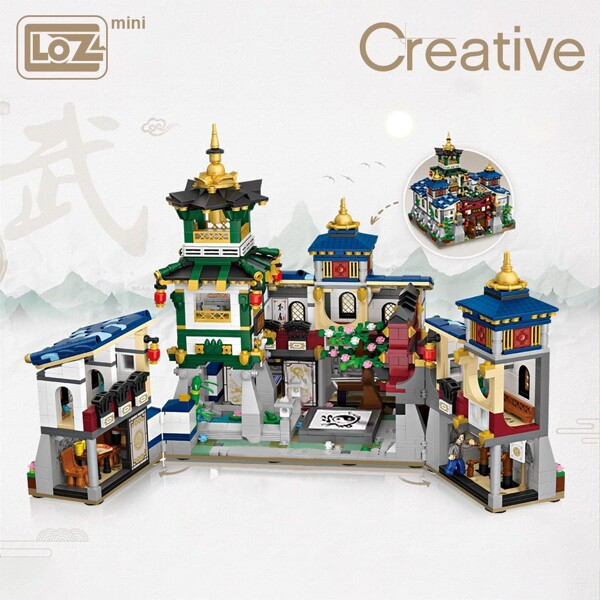LOZ Mini Block Mini belt box house with folding Jingwu Kung Fu Jingwu Museum Chinese style architecture Model DIY Assembly Toys