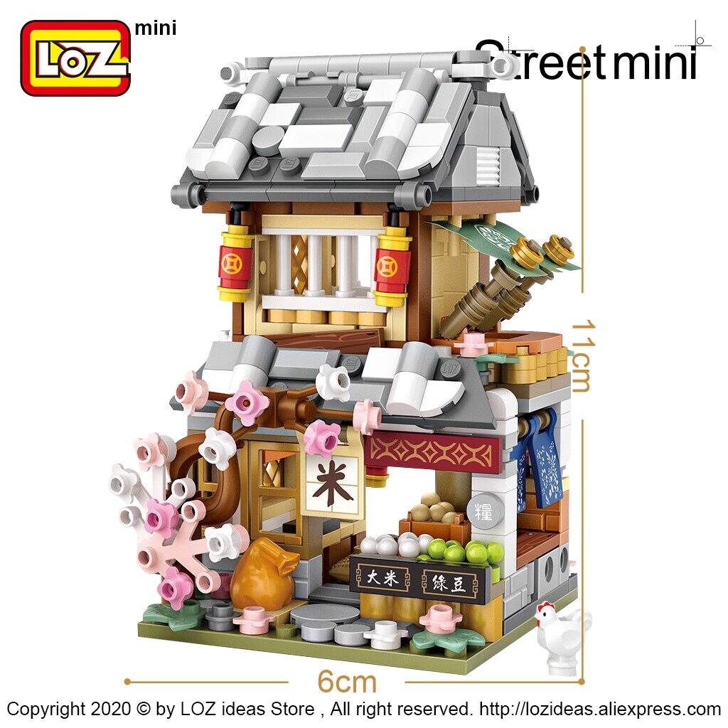 LOZ Mini Block Winter China Street Season 3 Mipu Inn Escort Shaobing Shop Chinese ancient style small particle building blocks