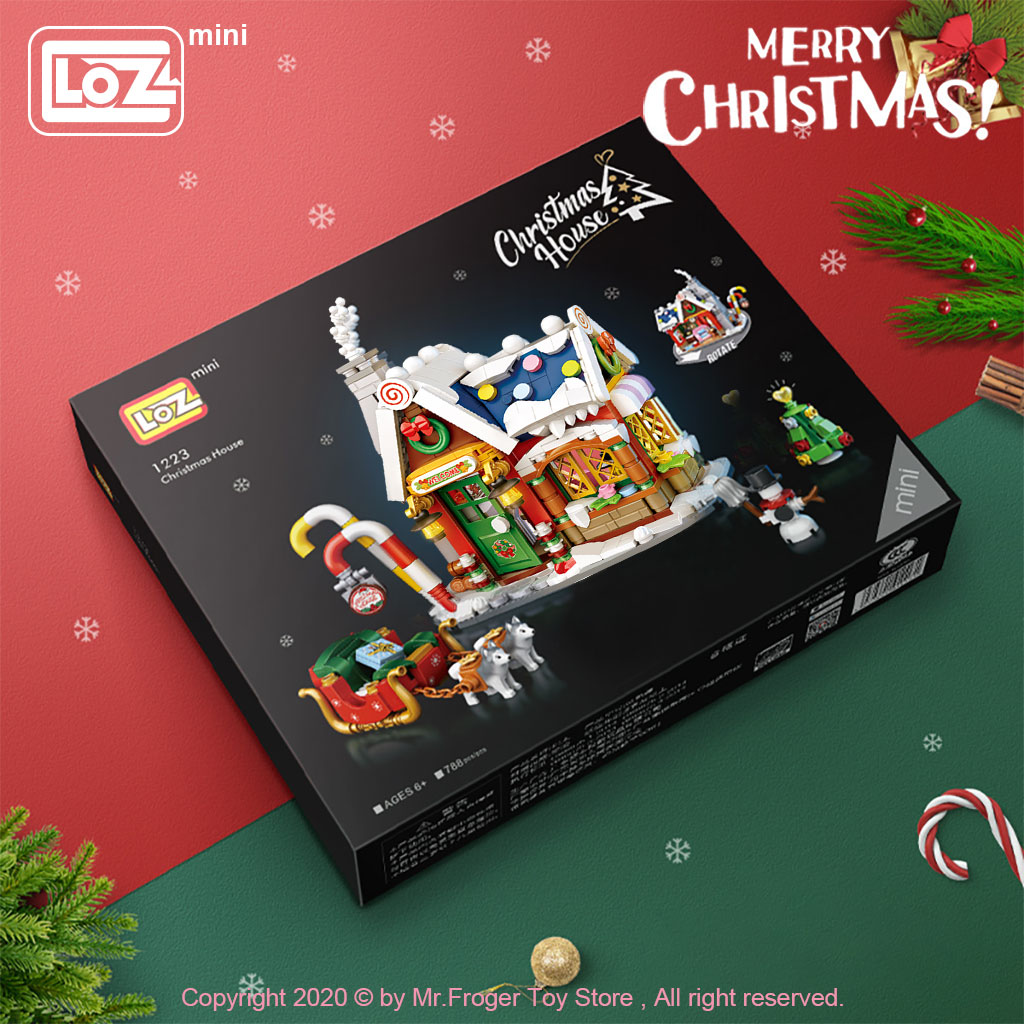 LOZ Mini Building Blocks New Christmas House Small particles mini building blocks Christmas gifts for the elderly puzzle toys