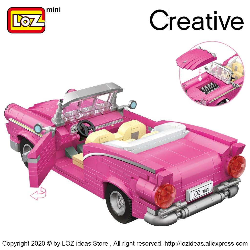 LOZ Mini Building Blocks pink convertible assembling building block car model assembling small particle toys pink classic car