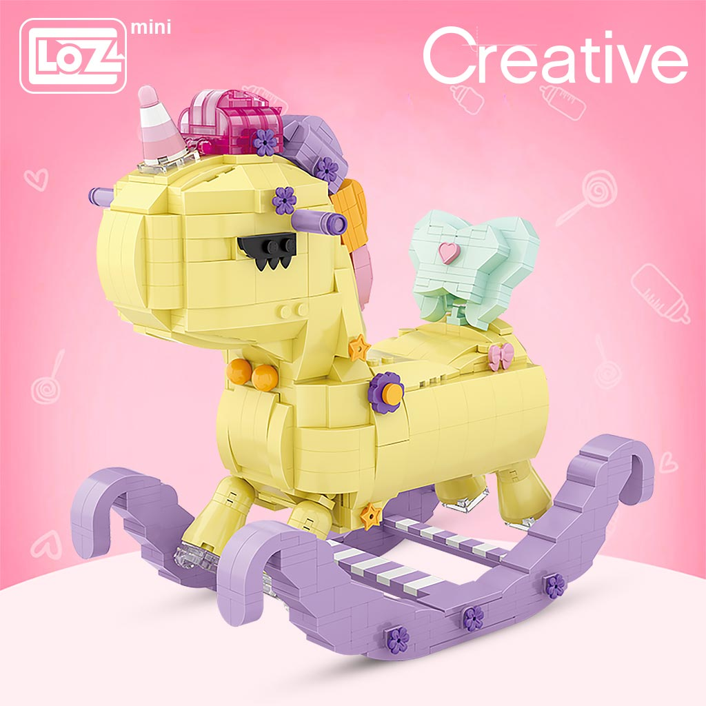 LOZ Rocking Horse Mini small particle assembly building blocks Rainbow Unicorn Trojan puzzle assembly model