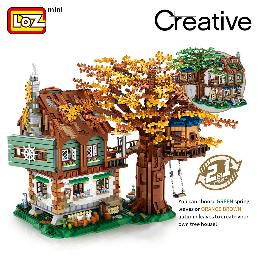 LOZ member store tree house small particles assembled building blocks yearning for adults three-dimensional difficult toys