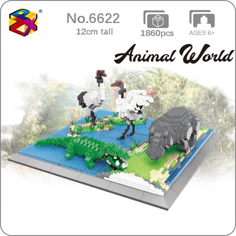 PZX 6623 Animal World Hippo Alligator Crane Bird