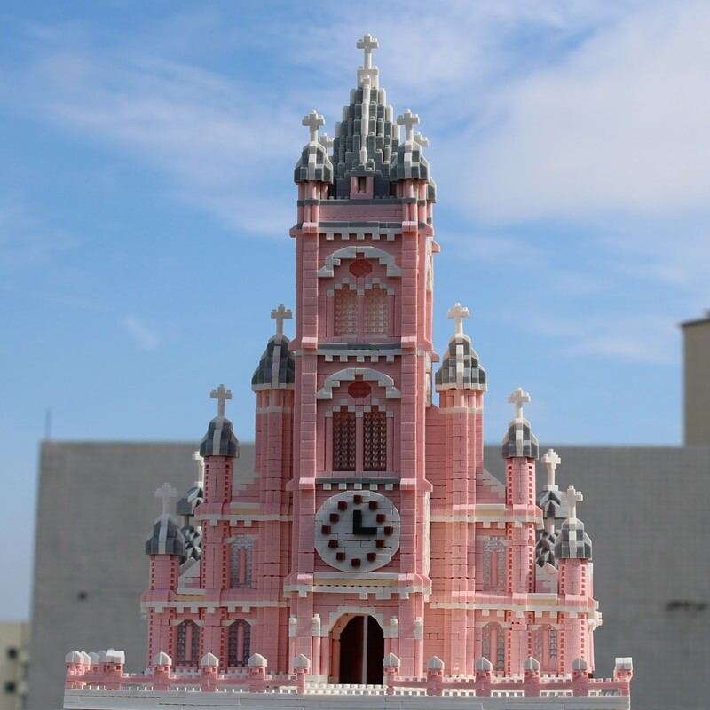 PZX 6626-6 World Architecture Pink Sacred Heart Church