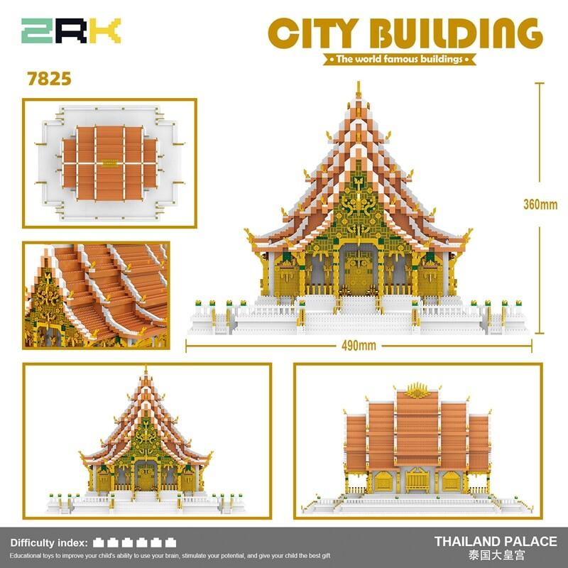 ZRK 7825 World Architecture Thailand Bangkok Grand Palace Model DIY Mini Diamond Blocks Bricks Building Toy for Children no Box