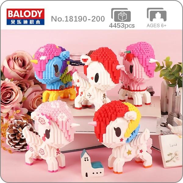Balody Rainbow Horn Fly Horse Sakura Heart Star Animal Figures Mini Diamond Blocks Bricks Building Toy for Children Gift no Box