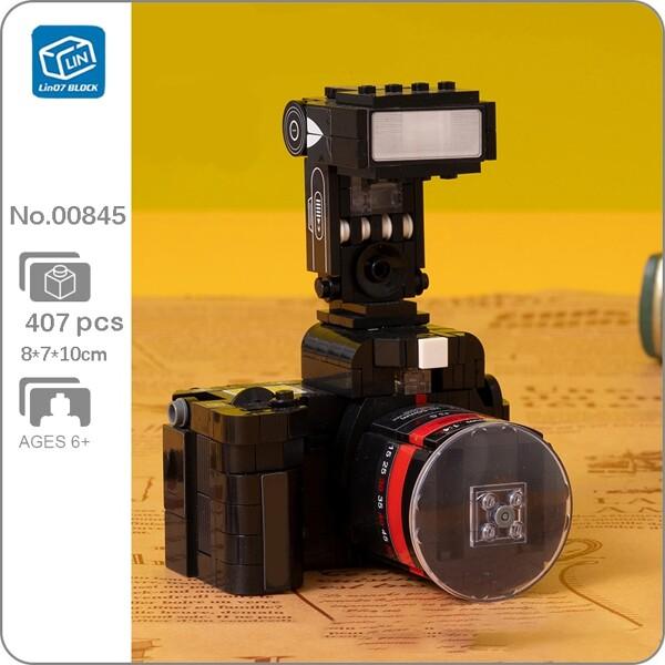 Lin 00845 Black Retro Flash Light SLR Camera