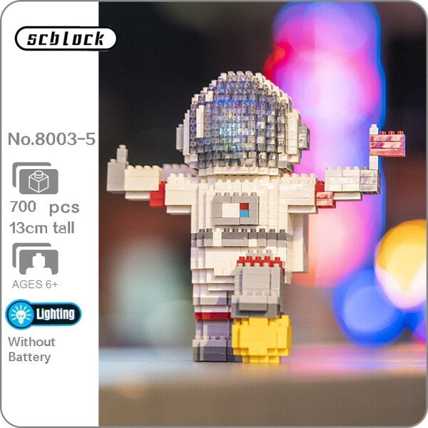 SC 8003-5 Standing Spaceman with LED Light Black Helmet and Red Flag