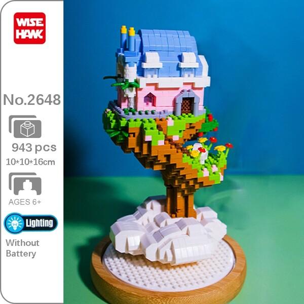 WS 2648 Cloud Tree House Flower Grass Dream Castle 3D Model DIY Mini Diamond Blocks Bricks Building Toy for Children no Box
