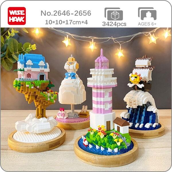 WS Architecture Sunny Pirates Ship Tree House Dress Lighthouse Sea Mini Diamond Blocks Bricks Building Toy for Children no Box
