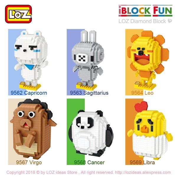 LOZ 9562-9575 Cute Animal Cartoon Characters