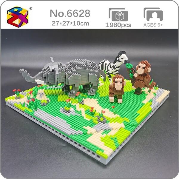 PZX 6628 Animal World Elephant Zebra Monkey Horse Flower