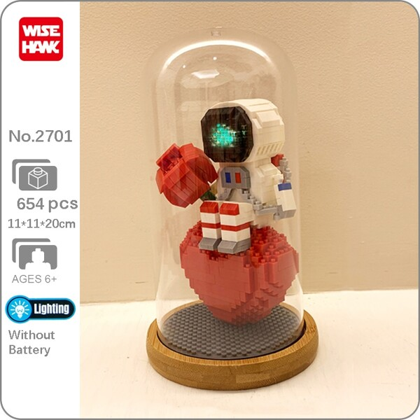 Wise Hawk 2701 Spaceman Sitting on Heart and Holding Rose with LED Light Display Covered Wood Base