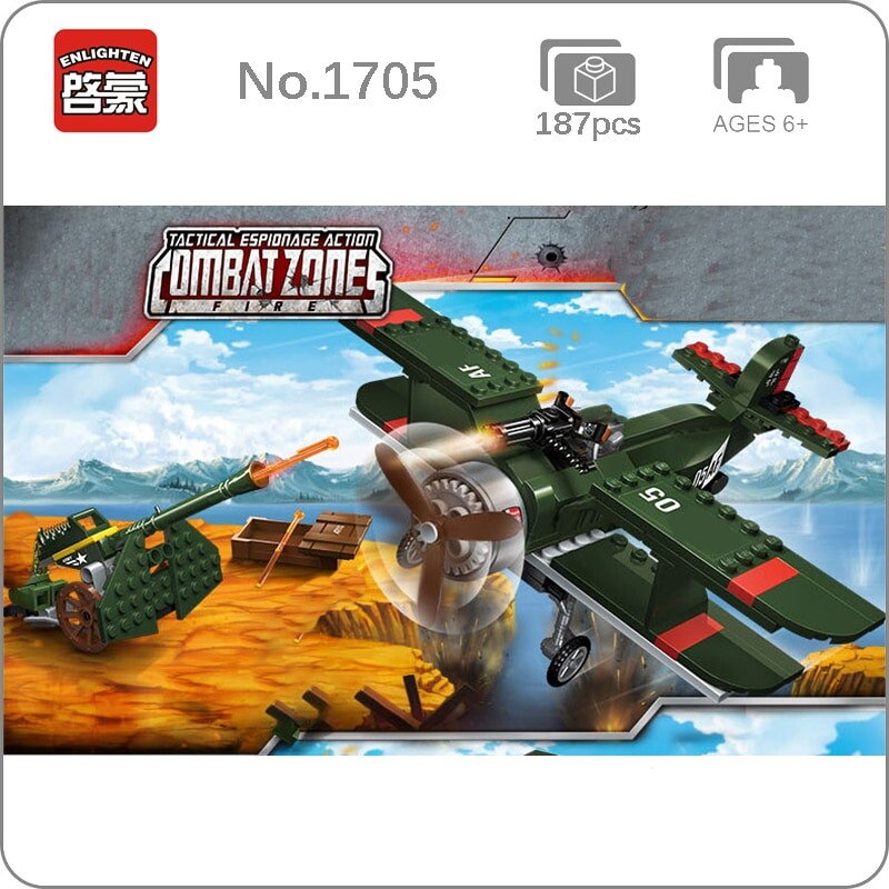 Enlighten 1705 Military Battlefield Anti Aircraft Gun and Biplane
