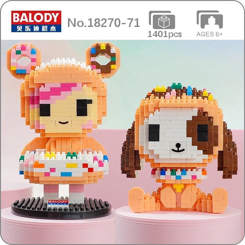 Balody 18270-18271 Sweet Doughnut Girl and Little Dog