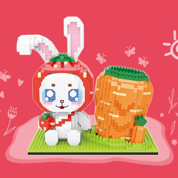 LOOGIKA 3327 Cute White Rabbit Wearing a Strawberry Hat and Carrot Pen Holder