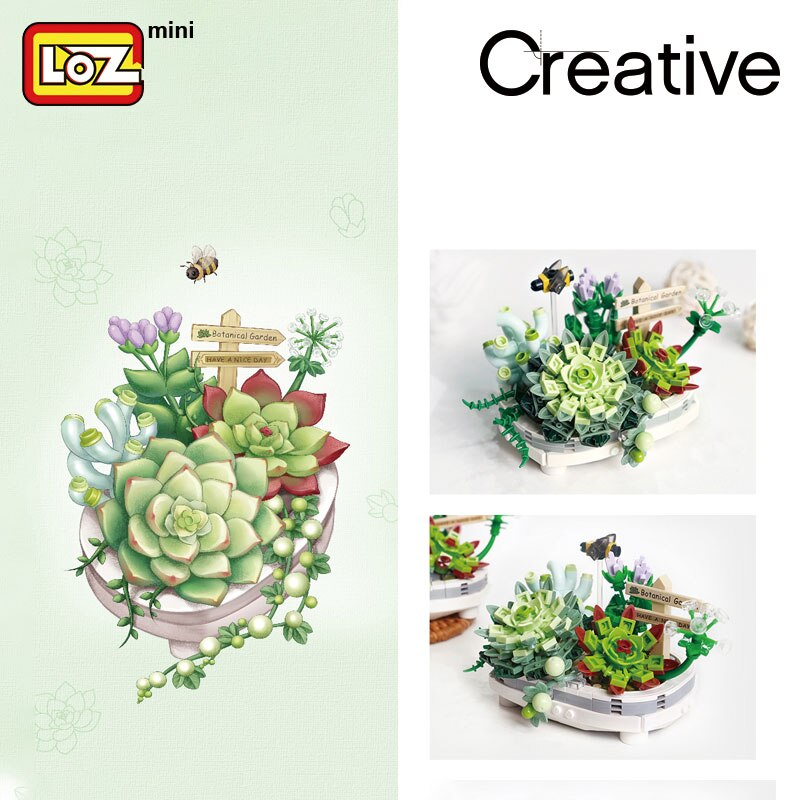 LOZ 1660-1661 Potted Cherry Blossom and Succulent Bonsai