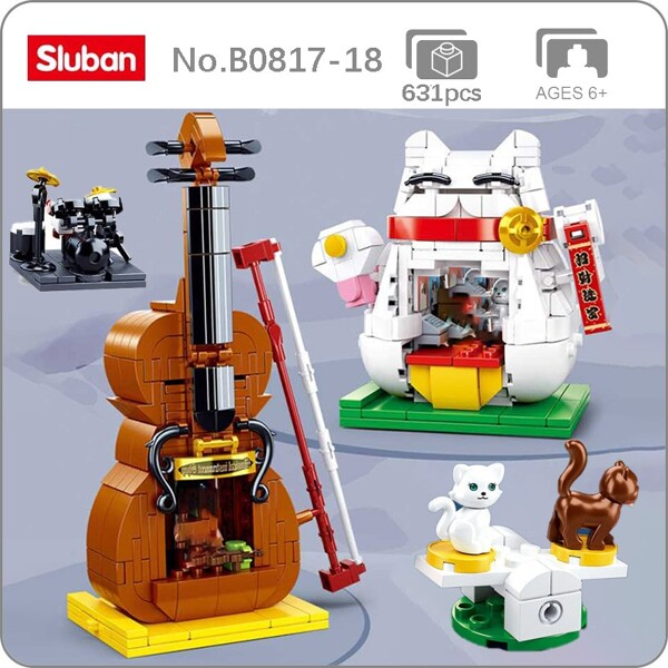 Sluban B0817-0818 Music Instrument Store and Cute Fortune Cat
