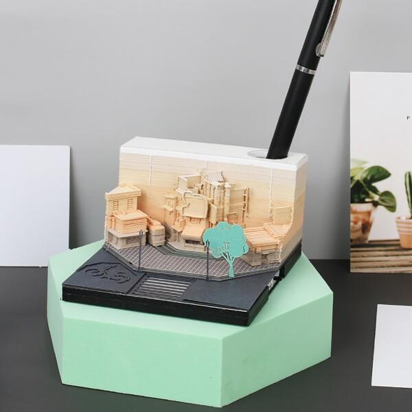 Modern City Corner Style Notepad Fashion Gifts Novelty Home Decor Post Its Note Laser Cutting Stick 2 - ®OMOSHIROI Block