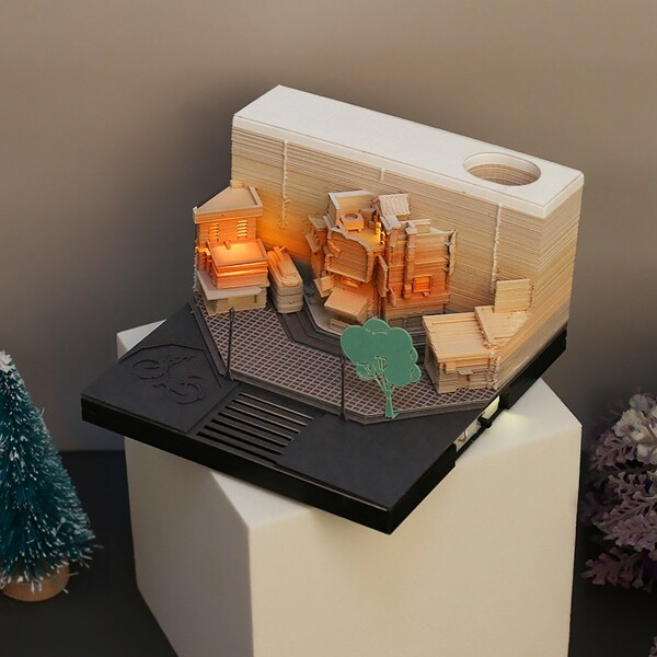 Modern City Corner Style Notepad Fashion Gifts Novelty Home Decor Post Its Note Laser Cutting Stick 3 - ®OMOSHIROI Block