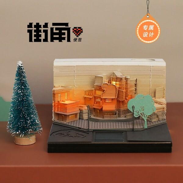 Modern City Corner Style Notepad Fashion Gifts Novelty Home Decor Post Its Note Laser Cutting Stick 4 - ®OMOSHIROI Block