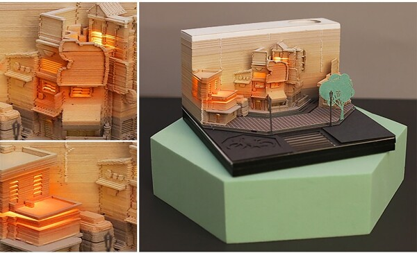 Modern City Corner Style Notepad Fashion Gifts Novelty Home Decor Post Its Note Laser Cutting Stick 5 - ®OMOSHIROI Block