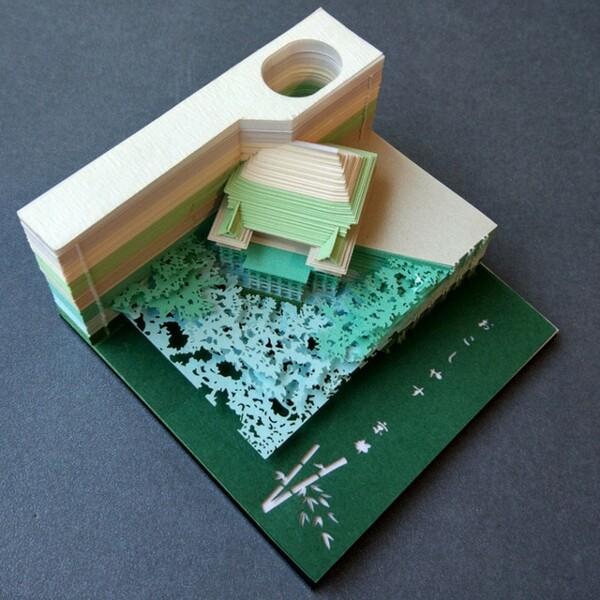 Omoshiroi Block 3D Memo Pads Novelty World Famous Buildings Model Notes Design Christmas - ®OMOSHIROI Block
