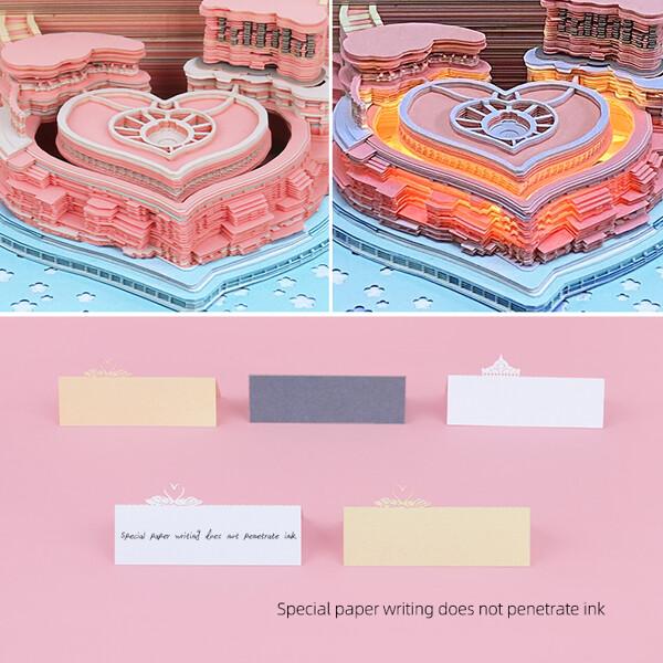 The Heart Shape Omoshiroi Block 3D Memo Pad