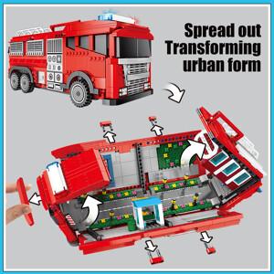 SEMBO 603063 Red miniature city fire truck Technic