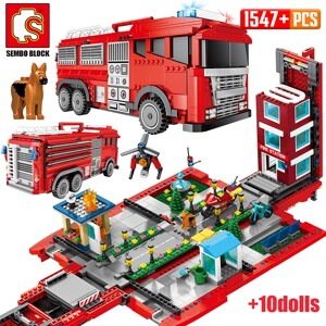 SEMBO 603063 Red miniature city fire truck Technic