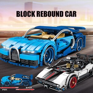 SEMBO 701602 Juggernaut Hurricane: Bugatti sports car pull back Technic